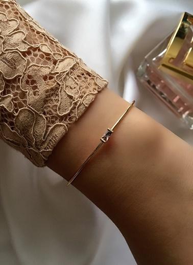 My Joyas Design Pembe Baget Taşlı Çıtır Bilezik Altın